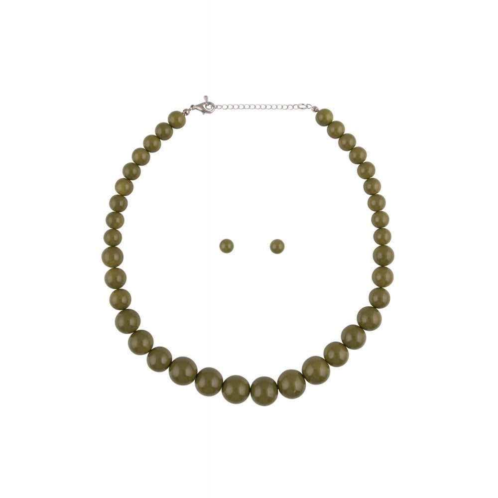 Olive Green Beaded Necklace and Earring Set