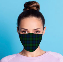 Load image into Gallery viewer, Black watch green and blue Tartan reusable Mask Face Covering