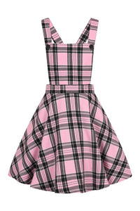 Islay Pink and Black Tartan Pinafore