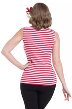 Load image into Gallery viewer, Haili Nautical Stripe top Red and White