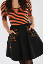 Load image into Gallery viewer, Miss Muffet Mini Skirt Black and Orange