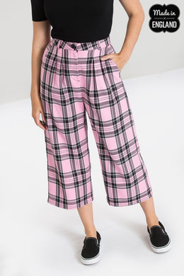 Pink Tartan Culottes Made in the Uk