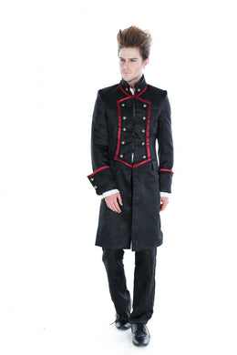 Black Satin Brocade high collared Coat with Red trim