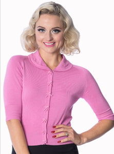 April Cropped Sleeve Pink Cardigan