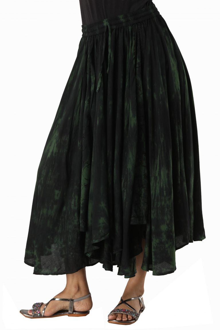 Extremely full Tie Dye elasticated skirt Deep Green green and Black