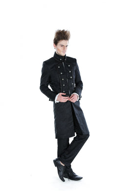 Black Satin Brocade high collared Coat with plain black satin trim