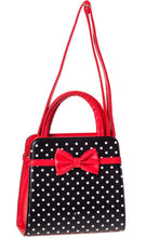 Load image into Gallery viewer, Carla Polkadot Bow Bag Black and Red