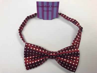 Wine Red and White Polkadot Satin Bow Tie