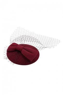 Bonny Bow Mini Hat Fascinator Burgundy Wine