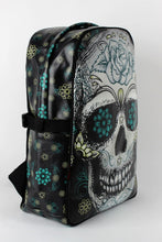 Load image into Gallery viewer, Blue Floral Sugar Skull Backpack