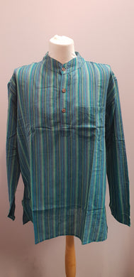 100% Cotton long Sleeve Striped Grandad Collar Shirt. Green Multi FAIRTRADE