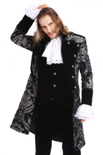 Load image into Gallery viewer, Silver and Black Brocade Gothic/ Steampunk Mid Length Coat