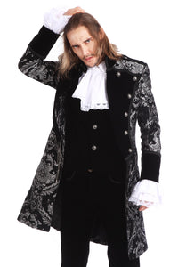 Silver and Black Brocade Gothic/ Steampunk Mid Length Coat