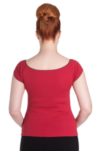 Bardot Stretch Jersey Top Red