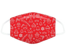 Load image into Gallery viewer, Red minimalist Christmas icons reusable Mask Face Covering