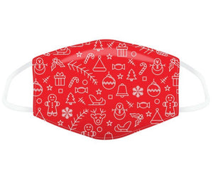 Red minimalist Christmas icons reusable Mask Face Covering