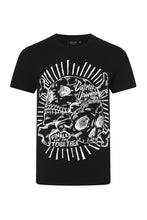 Load image into Gallery viewer, Cosmos Black T-shirt with white skull print