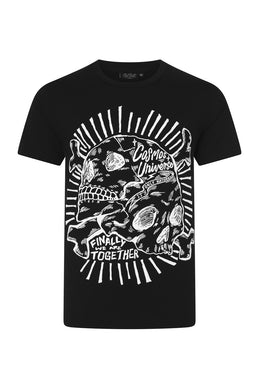 Cosmos Black T-shirt with white skull print