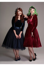 Load image into Gallery viewer, Clara Wine Velvet Swing Dress