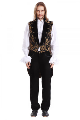 Gold and Black Brocade Tailed waistcoat