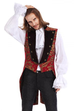 Load image into Gallery viewer, Red and Gold Brocade Tailed waistcoat