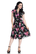 Load image into Gallery viewer, Bloomsbury Black floral and polkadot Tea Dress SALE WAS £64 NOW  £29