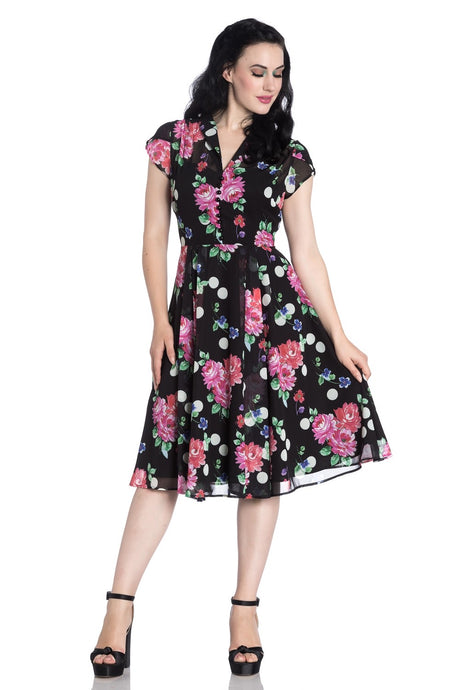 Bloomsbury Black floral and polkadot Tea Dress SALE WAS £64 NOW  £29