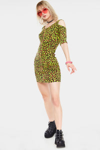 Neon Leopard Print bodycon Dress