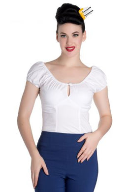 Classic cotton Gypsy Top with keyhole White