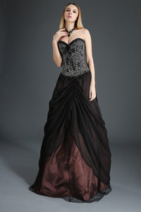 Layered Tulle Gothic Gown Skirt Black and Brown