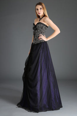 Layered Tulle Gothic Gown Skirt Black and Purple