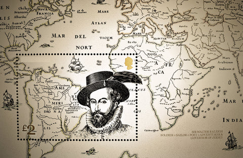 Map of World and Sir Walter Raleigh