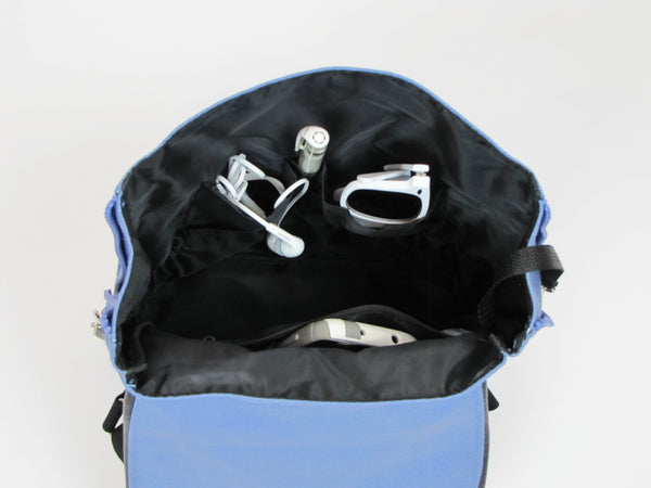 Blue Backpack Purse with pockets