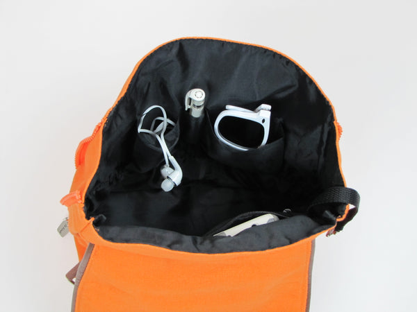 Orange Backpack Purse with pockets