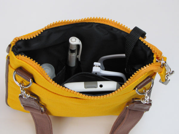 Yellow crossbody purse with pockets