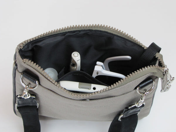 Gray Crossbody Purse with pockets
