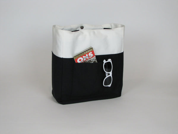 Black white canvas tote bag with pockets