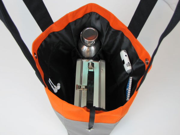 Gray orange tote bag with pockets