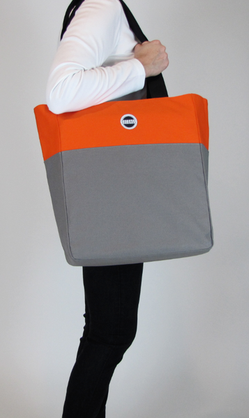 Gray orange tote bag