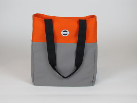 Gray orange canvas tote