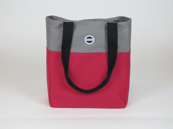 Berry gray canvas tote bag