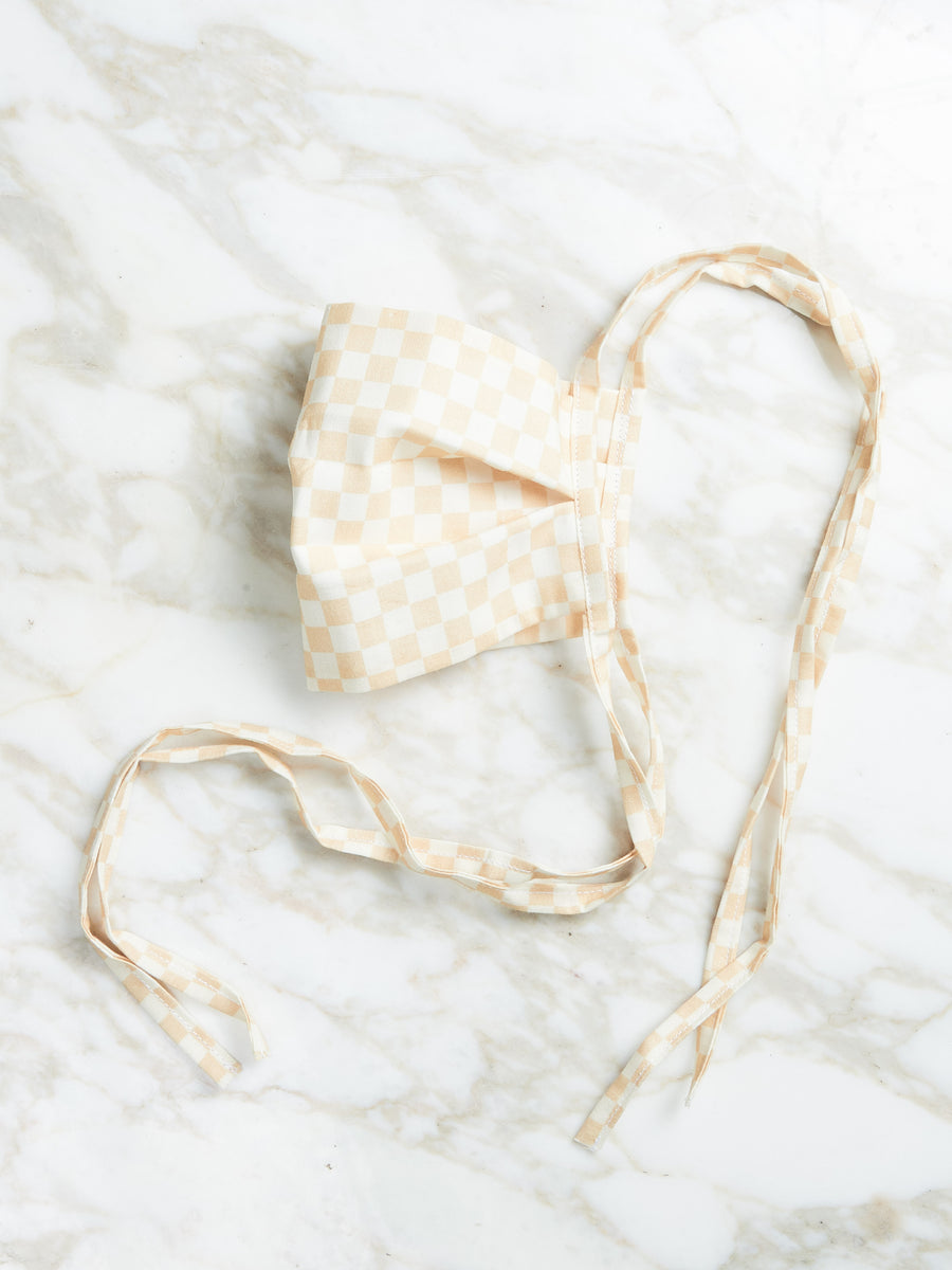 Cream Checkered Tie Mask