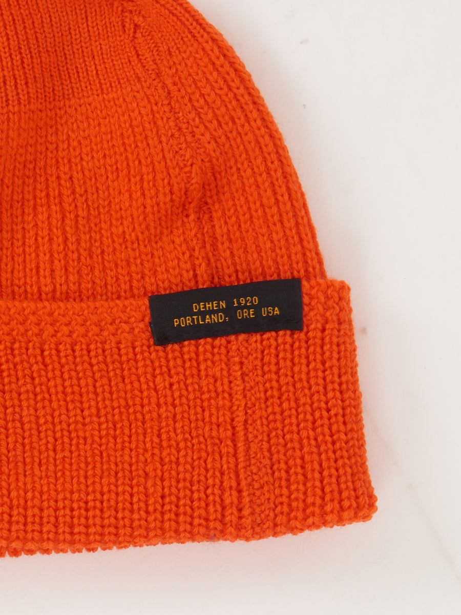 Safety Orange Wool Knit Watch Cap