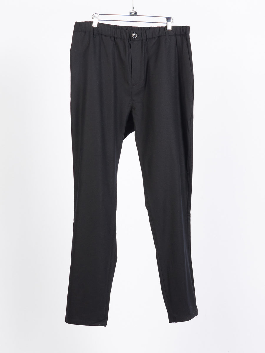 Black Flannel Elasticated Wide Trousers