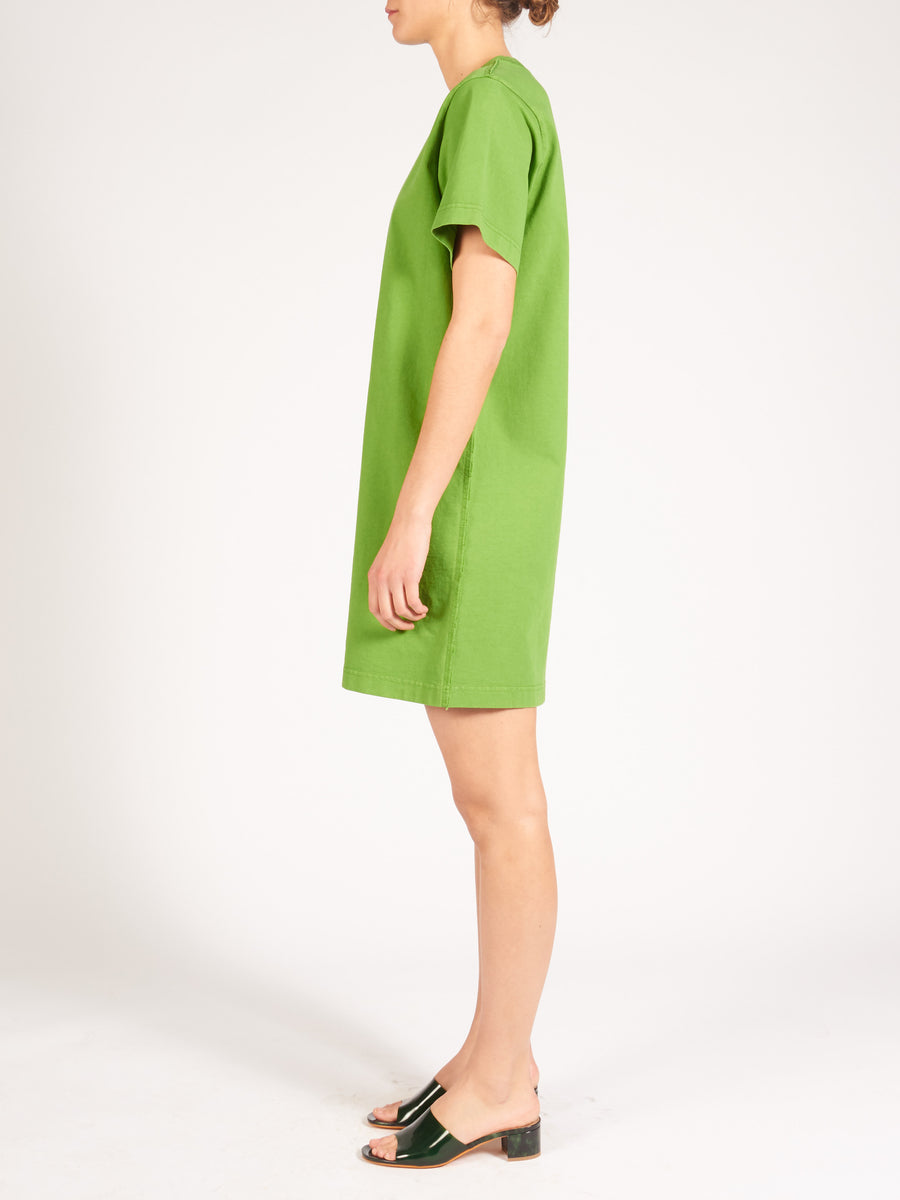 acne-forest-green-elleni-stamp-dress-on-body