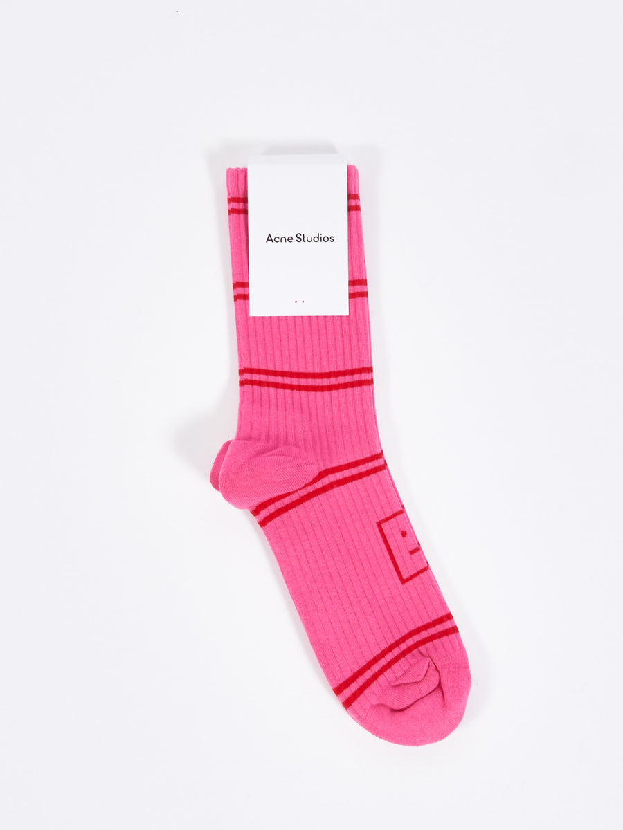 Bubble Pink Rib Socks