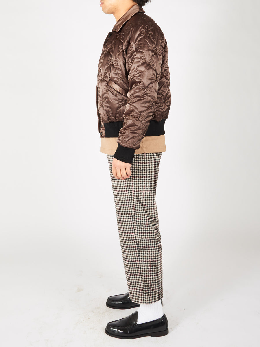 Coffee Brown Satin Bomber Jacket