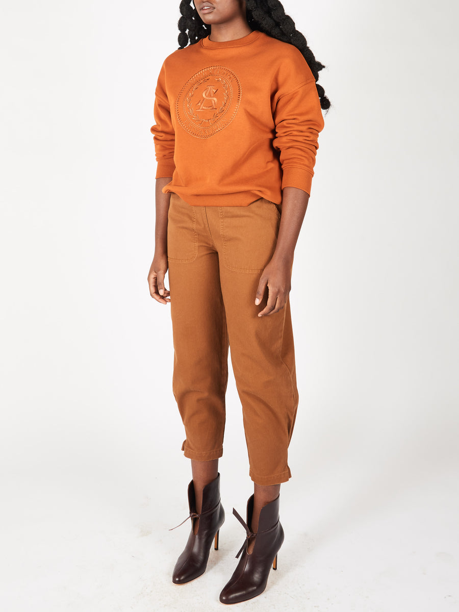 Cognac Brown Relaxed Sweatshirt