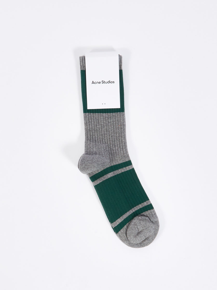 Grey Melange/Forest Green Rib Socks