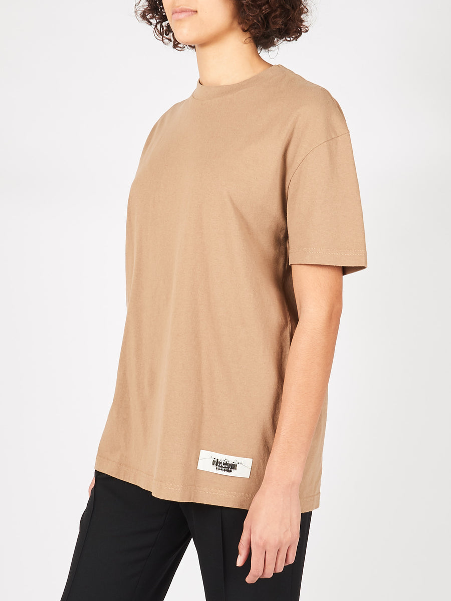 Acne-Studios-Light-Brown-Label-T-Shirt-on-body